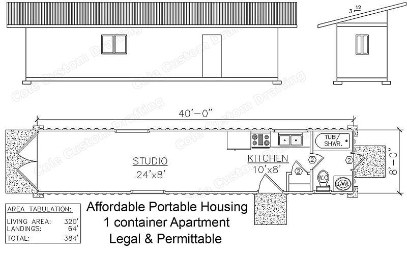 Getaway cabin or affordable living space jon luman co for Shipping container cabin floor plans
